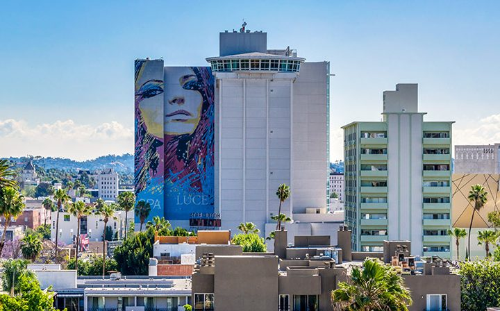Tall buildings and mural visible from The Ruby Hollywood, Los Angeles apartments in Hollywood
