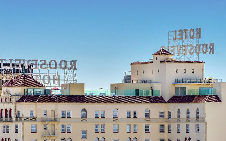 Hotel Roosevelt, visible from The Ruby Hollywood, Hollywood apartments in Los Angeles