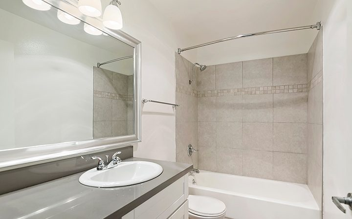 Vanity in unfurnished bathroom at The Ruby Hollywood, Los Angeles apartments in Hollywood