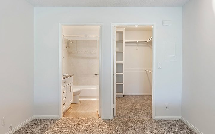 Unfurnished closet next to bathroom at The Ruby Hollywood, Los Angeles apartments in Hollywood