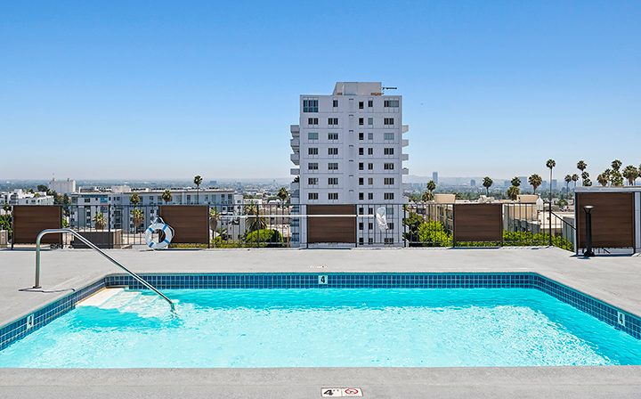 Rooftop pool with stunning skyline view at The Ruby Hollywood, Los Angeles apartments in Hollywood