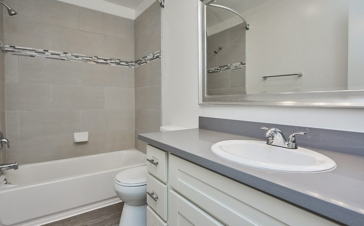 Unfurnished bathroom with grey countertop at Villa Bianca, West Hollywood apartments in Los Angeles