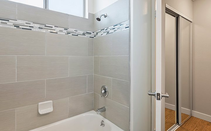 Shower and bathtub combo at Villa Bianca, Los Angeles apartments in West Hollywood