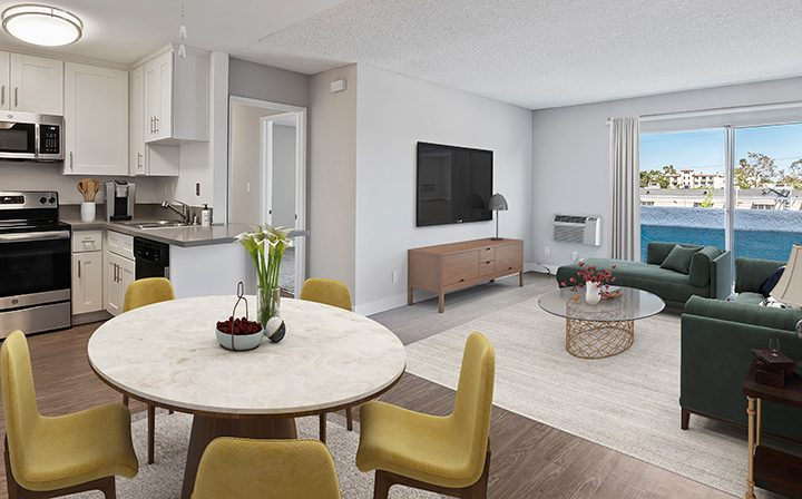 Furnished living room in model unit at Villa Bianca, Los Angeles apartments in West Hollywood