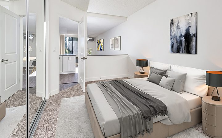 Furnished bedroom in model unit at Villa Careena, West Hollywood apartments in Los Angeles