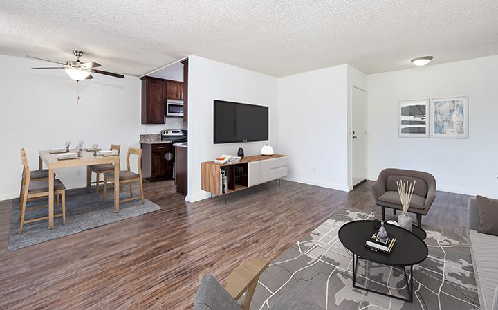 Furnished living room in model unit at Villa Careena, West Hollywood apartments in Los Angeles