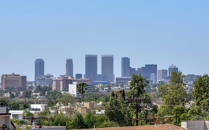Skyline view of the city from Villa Esther, Los Angeles apartments in West Hollywood