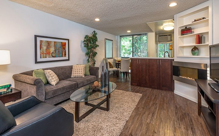 Cozy, well-furnished living room at Villa Esther, West Hollywood apartments in Los Angeles