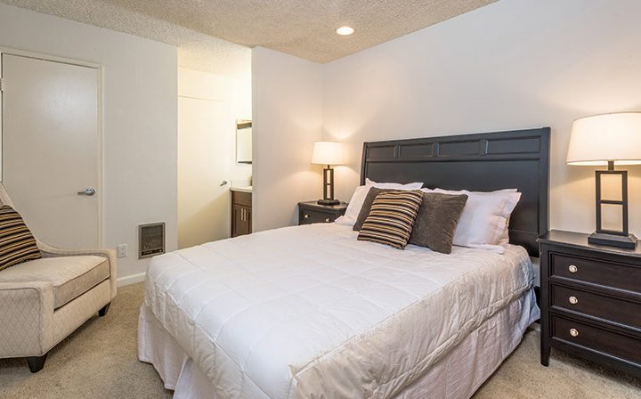 Carpeted, furnished bedroom at Villa Esther, Los Angeles apartments in West Hollywood