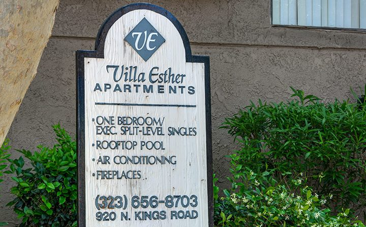 Placard with amenity and contact info for Villa Esther, West Hollywood apartments in Los Angeles