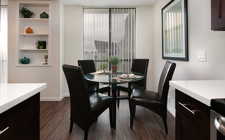 Dining table in furnished apartment at Villa Francisca, West Hollywood apartments in Los Angeles