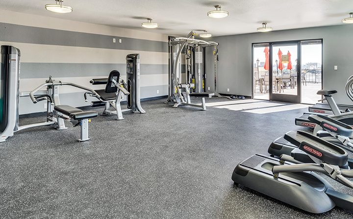 Machines in fitness center at Villa Francisca, West Hollywood apartments in Los Angeles