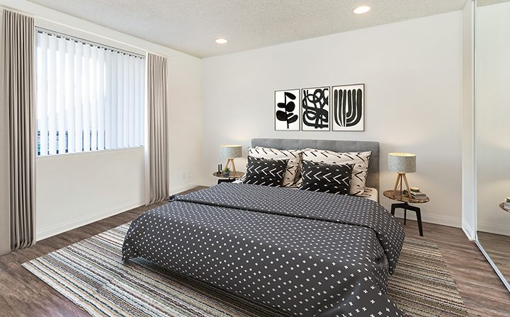 Furnished bedroom in model unit at Villa Francisca, Los Angeles apartments in West Hollywood