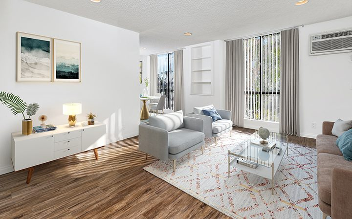Furnished living room in model unit at Villa Francisca, Los Angeles apartments in West Hollywood