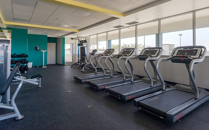 Treadmills in state-of-the-art fitness center at Westside Terrace, apartments in West Los Angeles