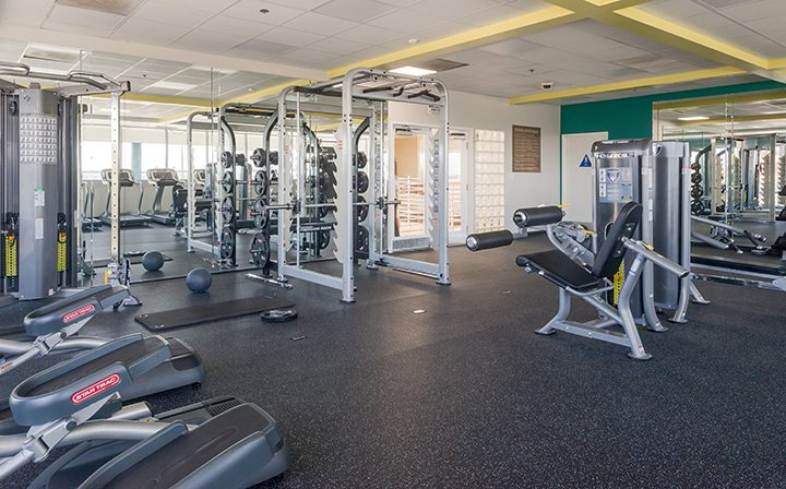 Large fitness center with many machines at Westside Terrace, West Los Angeles apartments