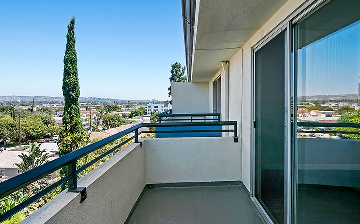 Apartment balcony overlooking the city at Westside Terrace, apartments in West Los Angeles