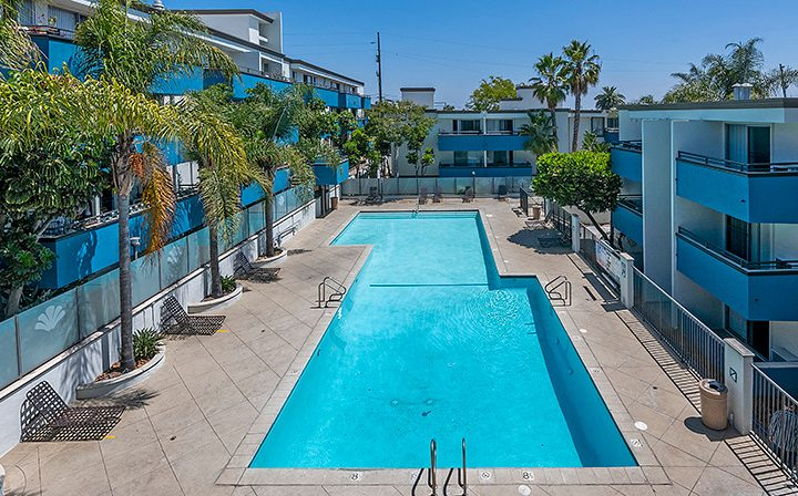 Large resort-style pool between apartments at Westside Terrace, apartments in West Los Angeles