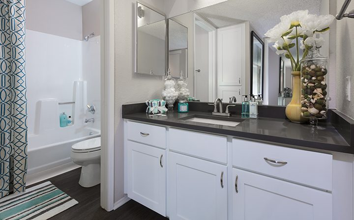 Furnished bathroom with white cabinets and large mirror at Willow Creek, apartments in San Jose