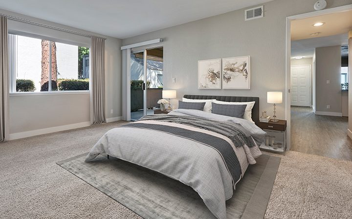 Furnished bedroom in model unit at Willow Creek, apartments in San Jose