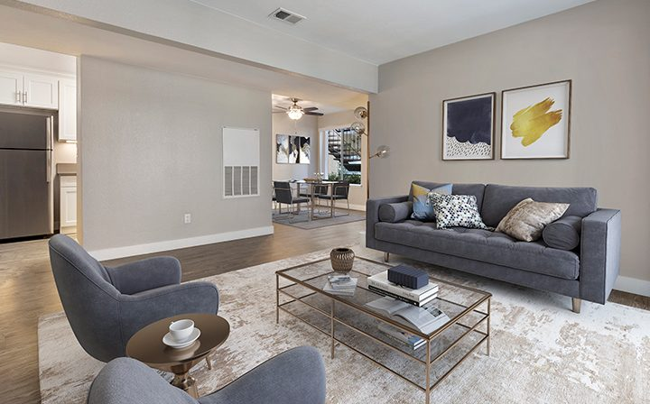 Furnished living room in model unit at Willow Creek, apartments in San Jose