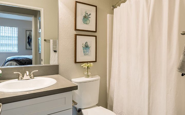 Bathroom furnished with art and shower curtain at Wood Ranch, apartments in Simi Valley
