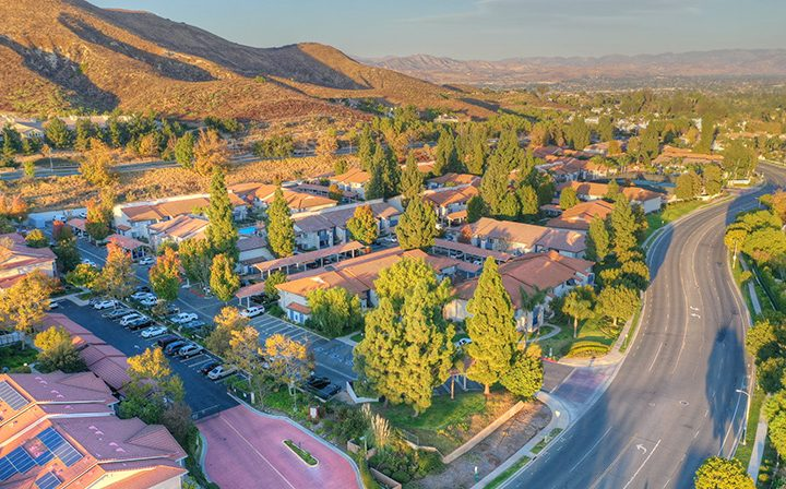 Aerial view of neighborhood and the Wood Ranch community, apartments in Simi Valley