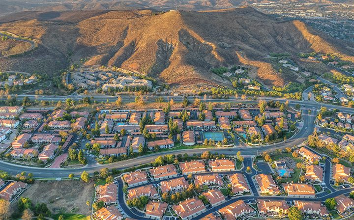 Aerial view of mountains and neighborhood around Wood Ranch, Simi Valley apartments