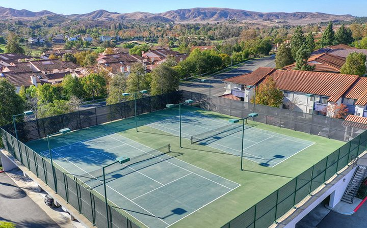 Aerial view of tennis courts at Wood Ranch, apartments in Simi Valley