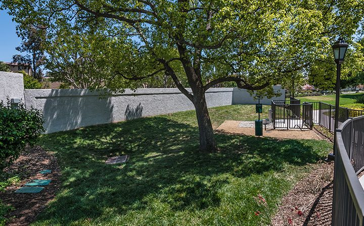Shaded, grassy, contained dog park area at Wood Ranch, Simi Valley apartments