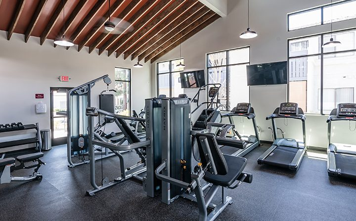 State-of-the-art fitness with weight and cardio machines at Wood Ranch, apartments in Simi Valley