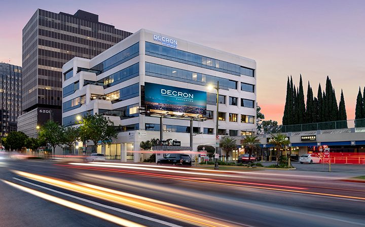 Nighttime view of 6222 Wilshire, a Class-A Six-Story Los Angeles office building for rent