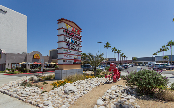 Sign with list of shops for The Hub - El Segundo