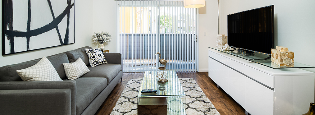 A renovated, furnished interior at River Ranch, Decron's Simi Valley apartments