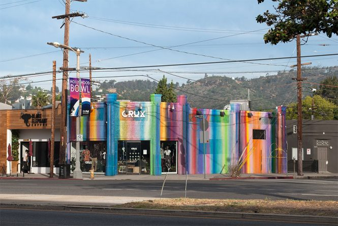 Crux, a rainbow painted building now home to Ritual Açai, near Decron's Atwater Village apartments