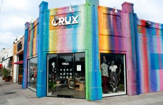 Rainbow building painted by graffiti artist Kelly 'RISK' Graval, near Atwater Village apartments