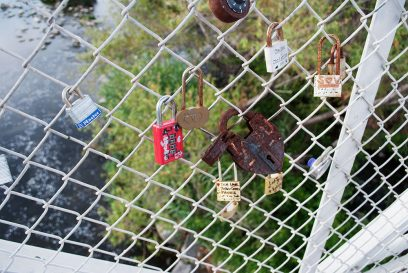 Detail of love locks on the Sunnynook Pedestrian Bridge, near Decron's Atwater Village apartments