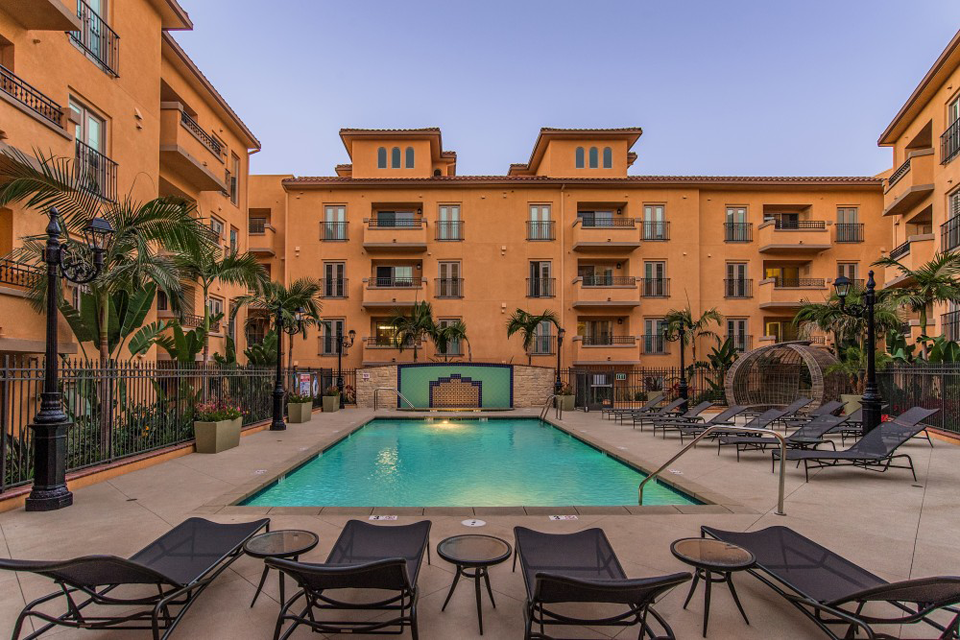 Luxurious resort style pool at the Playa Del Rey apartments