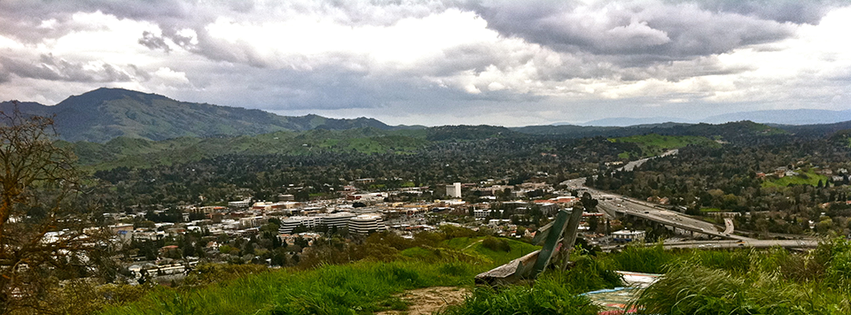 Looking down at the city of Wallnut Creek from a local hiking trail