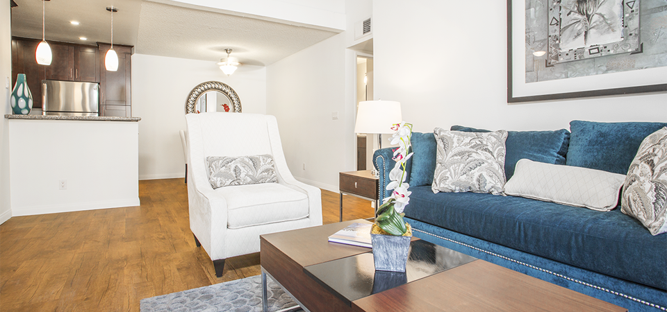 Furnished living room interior at River Ranch apartments