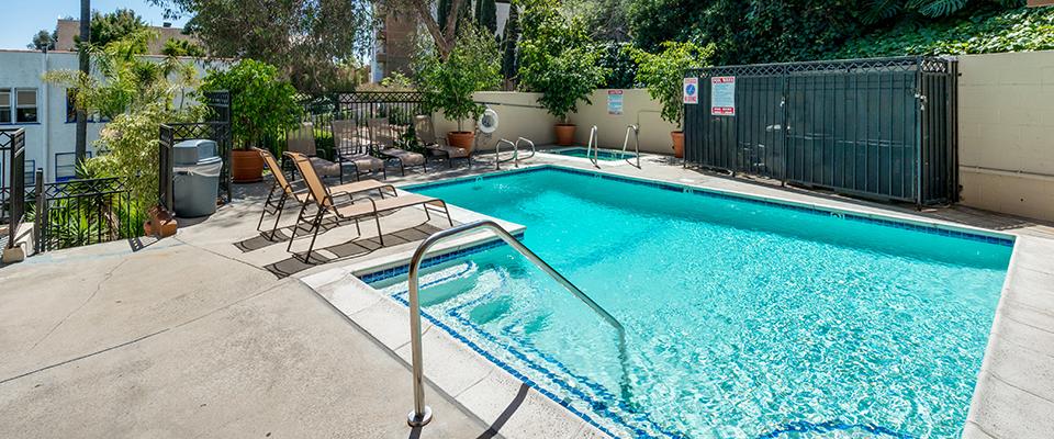 Pool at Ariel Court, Decron's Westwood apartments