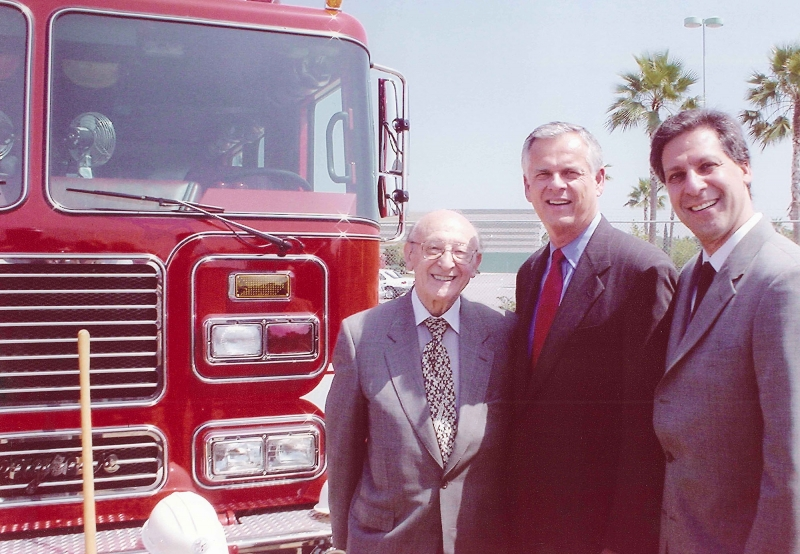 Mr. Jack Nagel, Chairman, and David Nagel, President, with Los Angeles Mayor James K. Hahn at dedication of Decron donated land site in Van Nuys