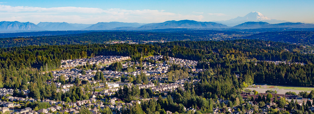Aerial view of the the city of Bothell where you can find Decron's Seattle-area apartments