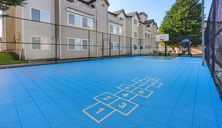 Basketball court at Indigo Springs in Kent, Washington