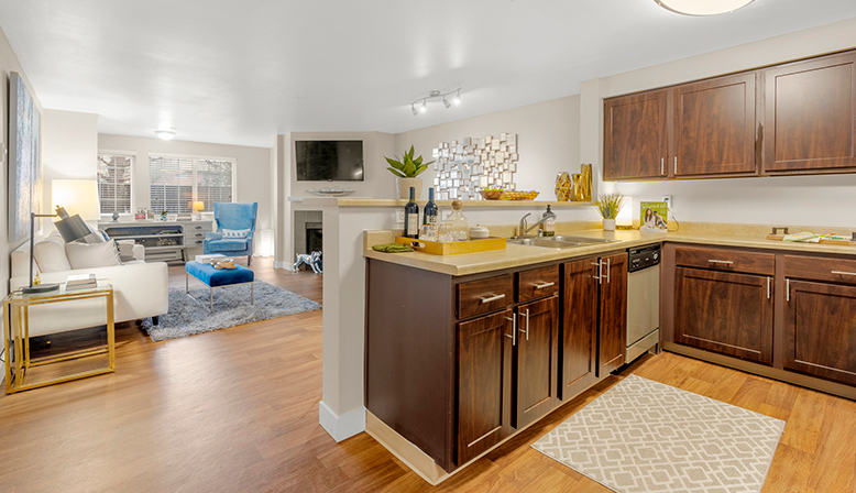 Furnished kitchen interior at Indigo Springs in Kent, Washington