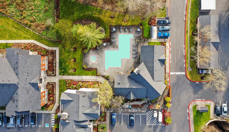 Aerial shot of Indigo Springs in Kent, Washington