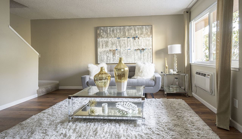 Furnished living room interior at Fremont apartment community Rancho Luna Sol