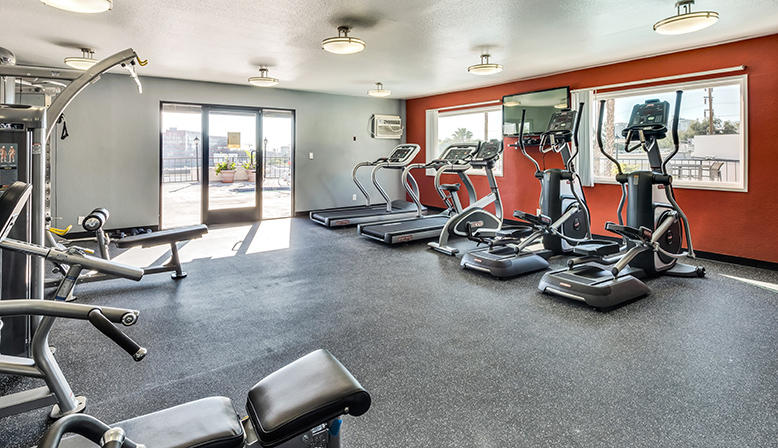 Fitness center for residents at West Hollywood apartment Villa Francisca