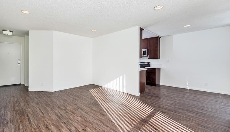 Unfurnished living room interior at West Hollywood apartment Villa Francisca