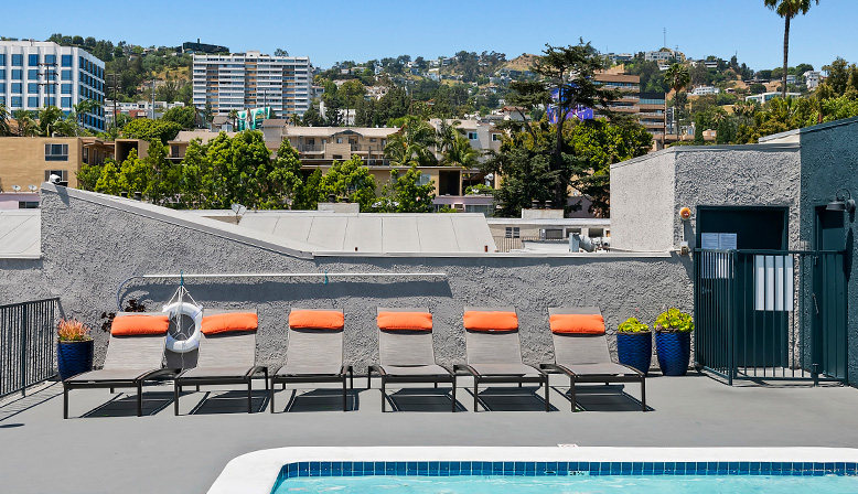 Rooftop pool at West Hollywood apartments Villa Francisca